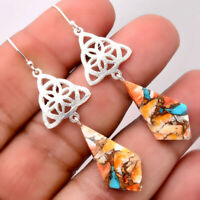 Artisan - Spiny Oyster Turquoise 925 Sterling Silver Earrings Jewelry 6172