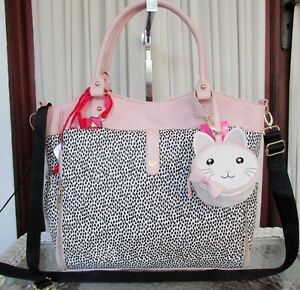 Betsey Johnson Roll Out Diaper Bag Pink Blush Baby Tote Weekender NWT