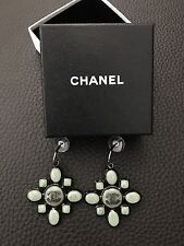**RARE* Only1 NIB Vintage CHANEL Large XL CC Medallion Jade Green Charm Earrings