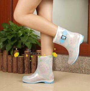 Korean Womens Rain Boot Waterproof Shoes Rubber Mid-calf Boots Hot Sale