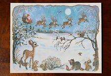 Vintage UNUSED Christmas Card SANTA SLEIGH REINDEER DEER & WOODLAND ANIMALS