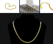 "18K 20"" 5.5mm Gold Heavy Stainless Steel Curb Cuban Link Chain Men Necklace"