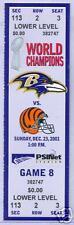 Baltimore Ravens Cincinnati Bengals 12/23/01 Ticket