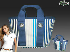 LACOSTE Ladies Mini Tote Handbag Bag Summer 1 Blue Striped AUTHENTIC