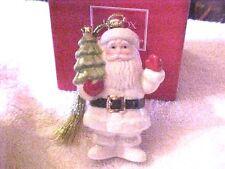 Still In Plastic/Strofoam, Lenox Very Merry Porcelain Ornament Santa With Box