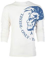 DIESEL Mens LONG SLEEVE T-Shirt TRIK Mohawk OFF-WHITE Casual Designer Jeans $98