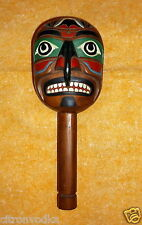 ALASKAN RESIDENT HAND CARVED & PAINTED WOOD CEREMONIAL SHAMANS RATTLE SIGNED