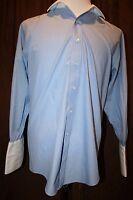 Brooks Brothers Dress Shirt White French Cuffs Blue White Stripe Cotton Non Iron