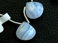 Natural Blue Lace Agate Faceted Heart Briolette Pair Beads (16090)