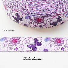 Ruban gros grain blanc Arabesque Fleur & Papillon violet de 22 mm vendu au mètre
