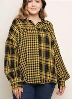 New Umgee Yellow Plaid & Check Print Long Sleeve Button Up Shirt Blouse XL NWT