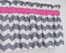Pink and Gray Chevron Window Valance Zig Zag Bath Bedroom Girl Nursery FREE SHIP