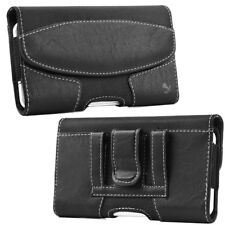 for SAMSUNG GALAXY J7 - BLACK Suede Leather Pouch Holster Case with Belt Clip