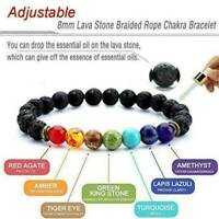 Chakra Bracelet Healing Lava 7 Natural Stone Beaded Oil Diffuser Aromatherapy TR