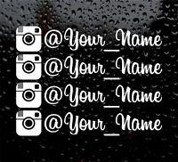 4 X INSTAGRAM YOUR NAME  CUSTOM PERSONALISED WINDOW VW VINYL DECAL STICKER font