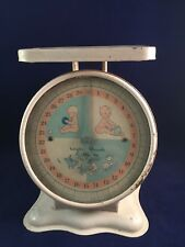 Vintage White Baby Scale Weighs Pounds by Ounces Pink Blue 30Lb Elephant Duck