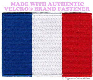 FRANCE FLAG PATCH FRENCH EMBROIDERED EMBROIDERED PARIS w/ VELCRO® Brand Fastener