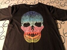 Youth XL 16- 18 Rainbow Skull Decorative T- Shirt