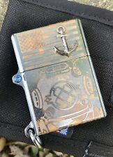 Steel Flame Mark V Old Glory Lighter with 3D Bronze Anchor Unused
