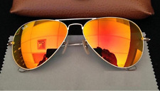 Heavy Premium Quality Aviator Golden Frame Men's & Women's Orange sunglasses