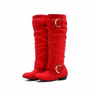 Women Knee High Boots Casual Flat Faux Suede Slouch Pull On Buckle Riding Shoes