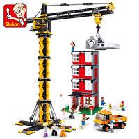 Bausteine Sluban Baustellen Turmkran Gebäude Spielzeug Modell Kind Architektur