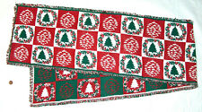 """XMAS Christmas 68"""" Tree, Wreath Pattern Holiday Party Table Runner, Cloth Fabric"""