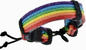 NEW & SEALED- Leather Rainbow Gay Pride LGBT Bracelet