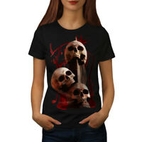 Wellcoda Bloody Skeleton Art Womens T-shirt, Bloody Casual Design Printed Tee
