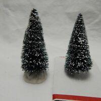 LEMAX FLOCKED BOTTLE BRUSH TREES 4'' TALL (SET OF TWO #C)