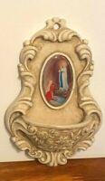 INRI Religious HOLY WATER FONT Bowl Wall Mount Resin Virgin Mary Praying