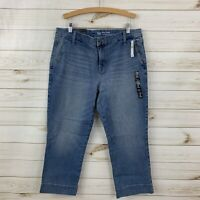 NEW Gap Women's Wide Crop Light Wash Lightly Distressed Crop/Capri Jeans. 14/32R
