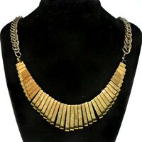 Vintage Necklace Cleopatra Style Gold Tone Bars Stunning Piece Heavy