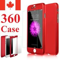 For iPhone 5 S SE 6 6S 7 8 Plus Case - Thin Hard 360 Cover + Tempered Glass