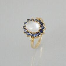 Ring Mondstein + Saphire 585/14k Gelbgold - Gr. 49