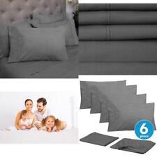 Full Set 6 piece Bed Sheets California Queen Size Deep Cotton 100% Egyptian Grey