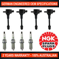 4x Ignition Coils & 4x Genuine NGK Spark Plugs for Nissan Pulsar N16 1.8L