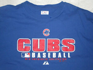 MAJESTIC CHICAGO CUBS BASEBALL MEN'S SHIRT T-SHIRT BLUE XL USED COTTON