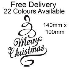 Merry Christmas Contemporary Vinyl Sticker Wine Bottle Xmas Craft DIY 22 Colours