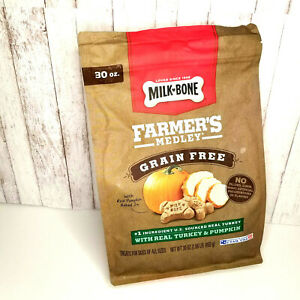Milk-Bone Farmer's Medley Dog Treats Grain FreeTurkey & Pumpkin 30 Oz  Exp 10/21