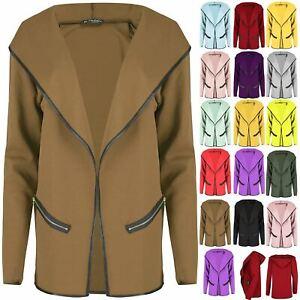Womens Hoodies Ladies Cardigan Zip Pocket Open Front Stretchy Blazer Coat Jacket