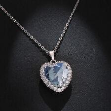 Ladies Love Heart White Topaz Pendant 925 Silver Necklace Wedding Jewellery Gift