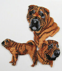 Shar Pei dog heat seal embroidered badge