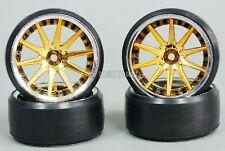 Fly Wheels 1/10 Large 2.2 DRIFT WHEEL SET Gold/Chrome Stagger 6+9mm  56x34 mm