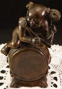 Vintage Bronze Statue Chinese Boy Figure On Top of Large Drum Semi Nude ~ Whimsy