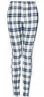 Womens TOPSHOP On Trend Blue Check Print Cotton Stretch Leggings 6 8 10 12 14