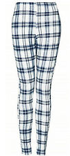 Womens TOPSHOP On Trend Blue Check Print Cotton Stretch Leggings 6 8 10 12 14