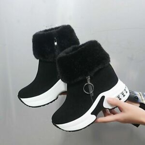 Womens Warm Fur Lined Ankle Boots Wedge Heels Casual Winter Sport Bootie Shoes