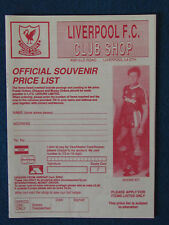 Liverpool FC Merchandise Catalogue Price List - 1990 - 4 pages
