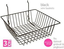 Baskets for Gridwall/Slatwall/Pegboar d - Black 3 pcs